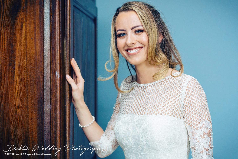 Wedding Photographers Dublin Castle Leslie Monaghan Bride Smiling in her dress