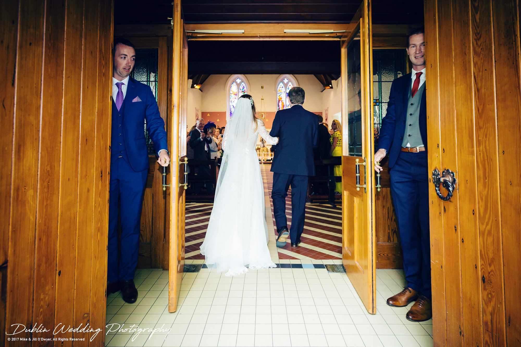 Wedding Photographer Dublin Bride and father walking up the aisle