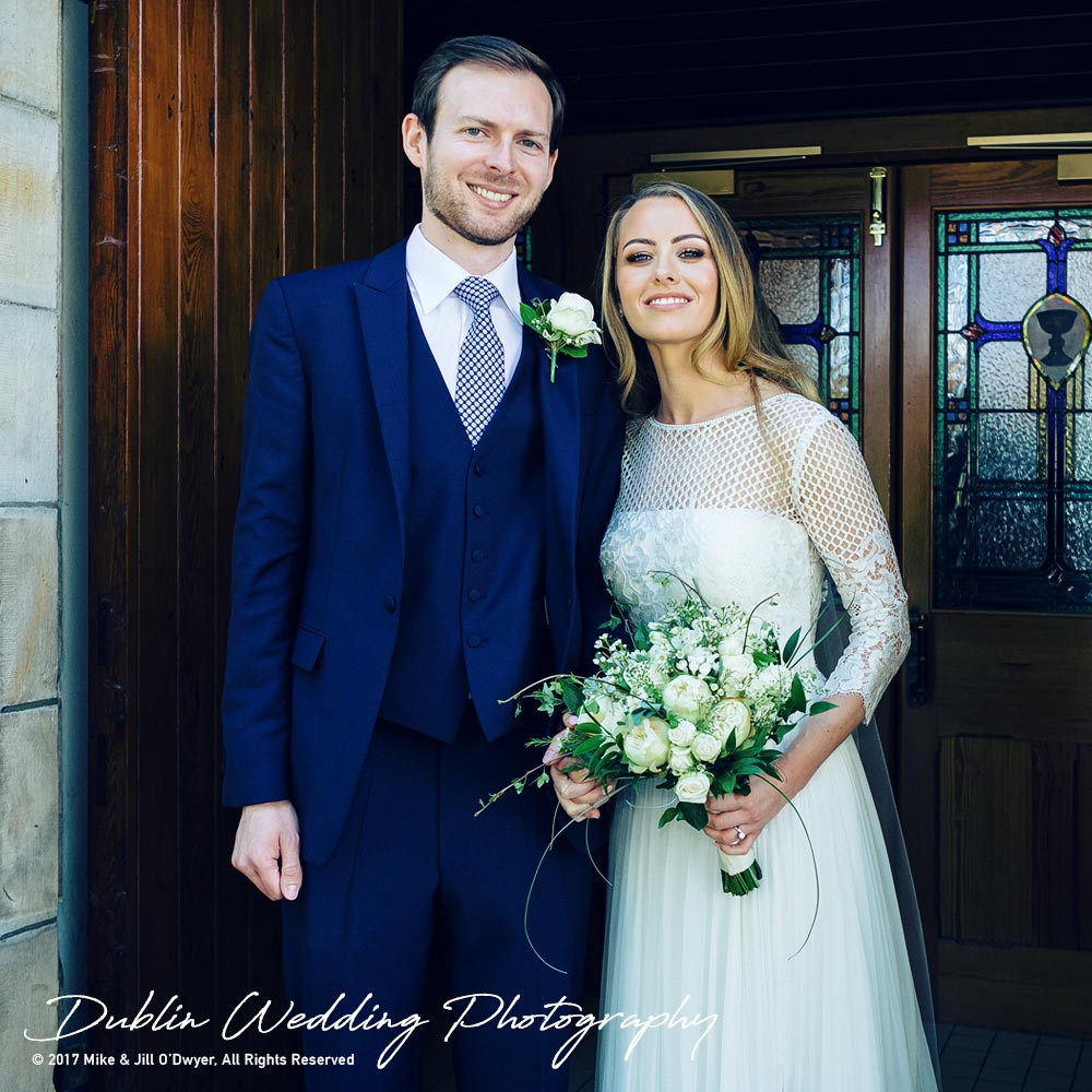 Wedding Photographer Dublin Castle Leslie Bride & Groom outside Church
