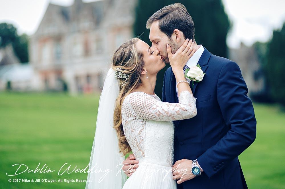 Wedding photographers Dublin Castle Leslie Bride & Groom passionate kiss