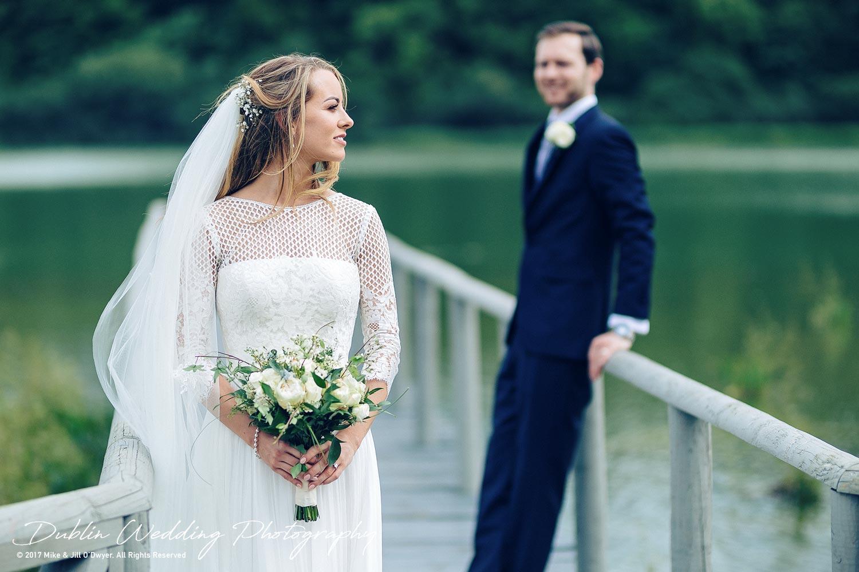 Wedding Photographer Dublin Bride & Groom by the lake