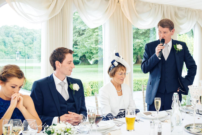 Dublin Wedding Photography father's Speech at Castle Leslie