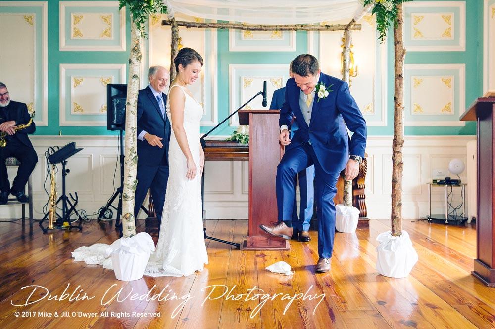 Wedding Photographer Killashee Hotel Bride & Groom Breaking Glass