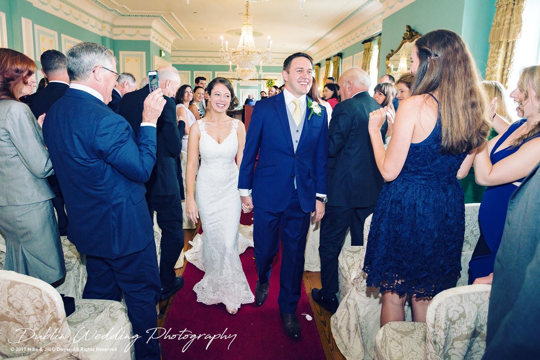 Wedding Photographers Killashee Hotel Bride and Groom Walking Down The Aisle
