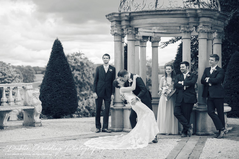 Wedding Photographers Killashee House Hotel Bride Groom Groomsmen Bridesmaid and a kiss