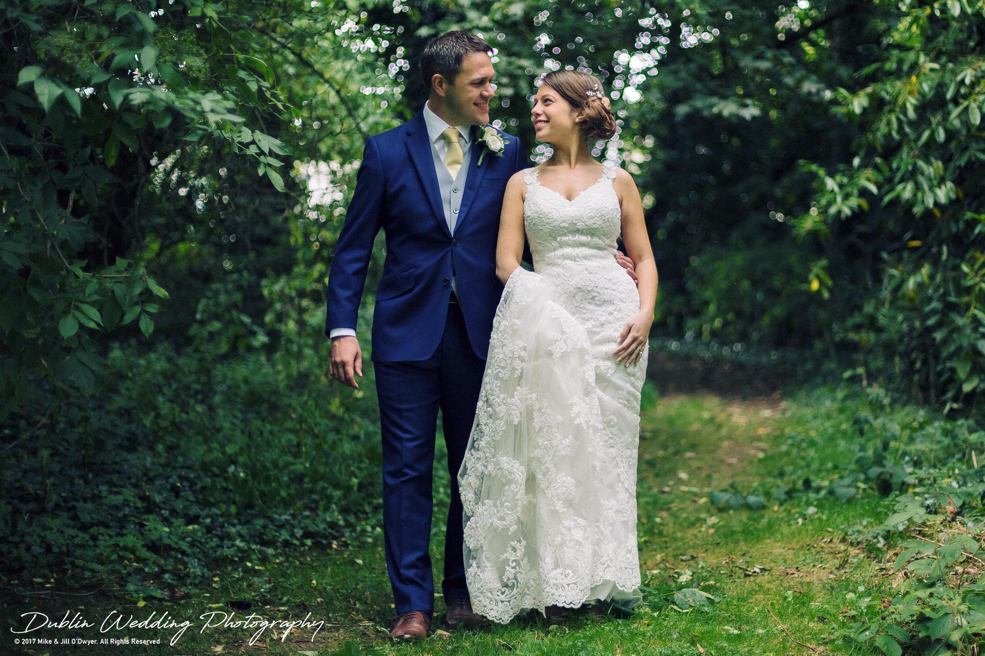 Wedding Photographer Kildare Killashee House Hotel Bride Groom in Woods