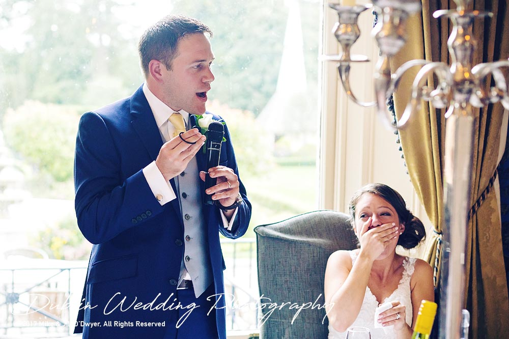 Killashee Hotel Wedding Photographers Groom's Speech Bride's reaction
