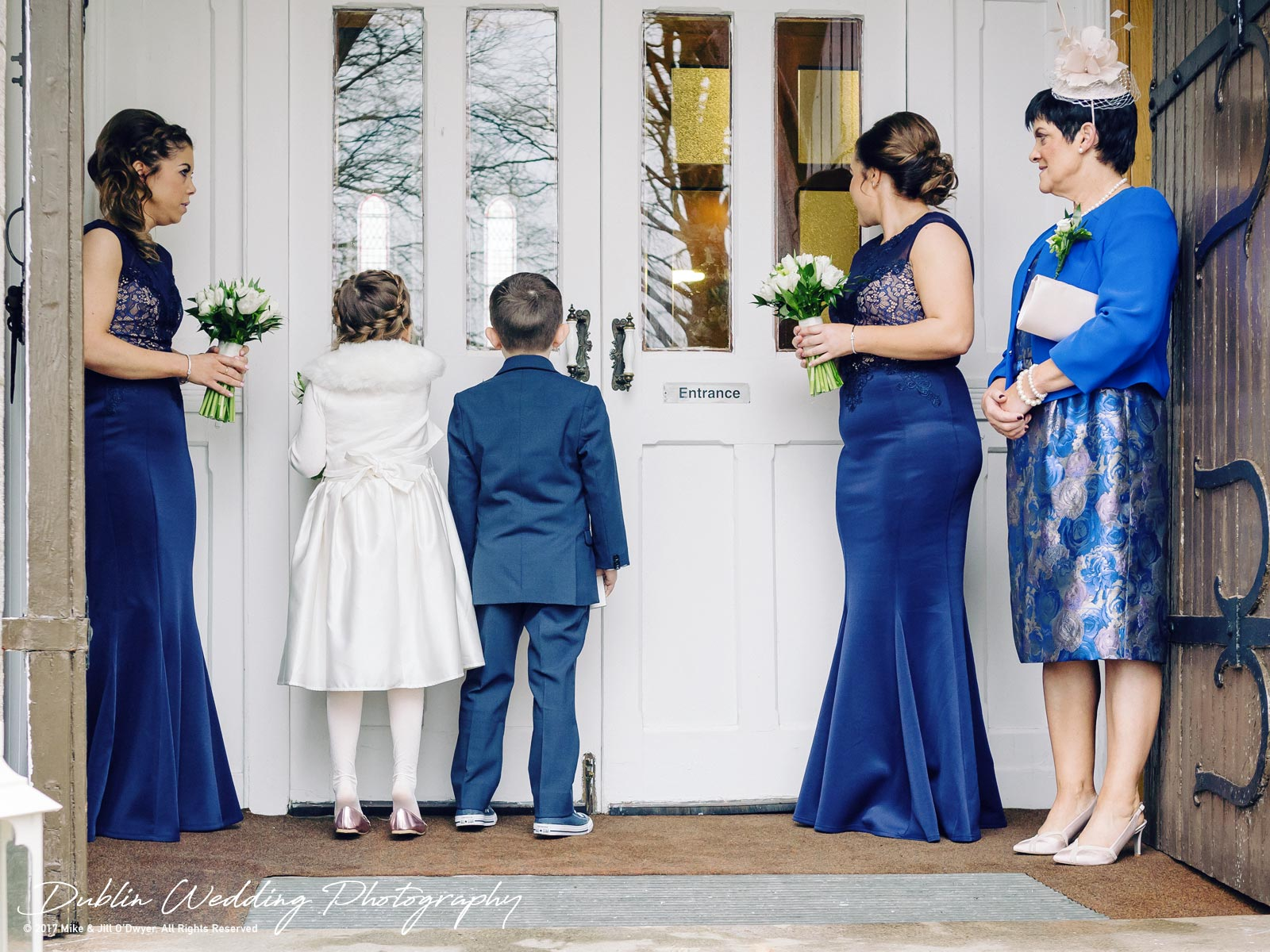 Castle Durrow Wedding Photographer County Wicklow Church Bride and family outside Church