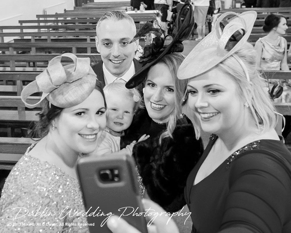 Castle Durrow Wedding Photographer County Wicklow ChurchGroom with family Selfie