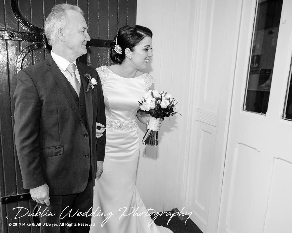 Castle Durrow Wedding Photographer County Wicklow Church Bride and father At Church Entrance