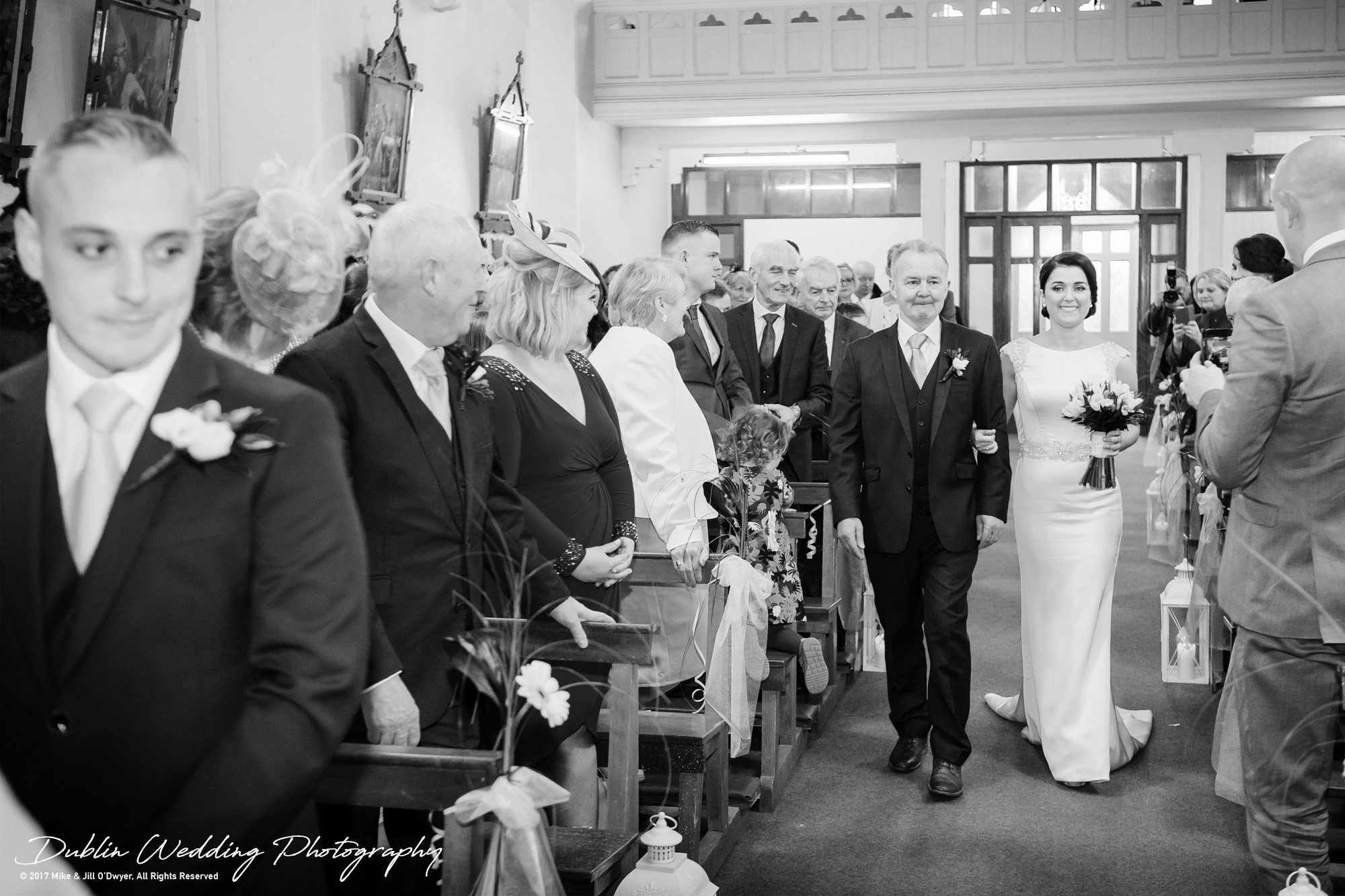 Castle Durrow Wedding Photographer County Wicklow Church Bride and father Walking Up The Aisle