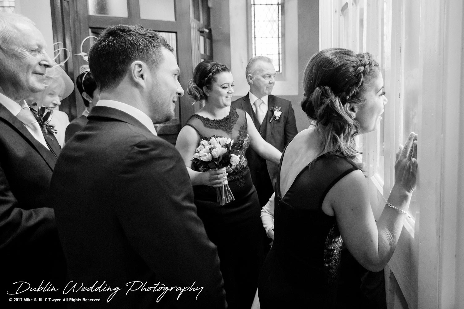 Castle Durrow Wedding Photographer County Wicklow Church Bridal Party Waiting