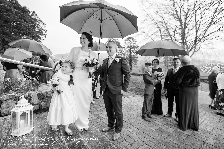 Castle Durrow Wedding Photographer County Wicklow Church Umbrellas
