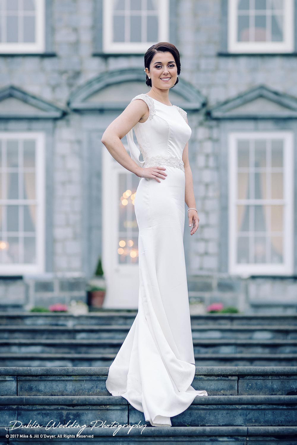 Castle Durrow Wedding Photographer The Bride On the Steps