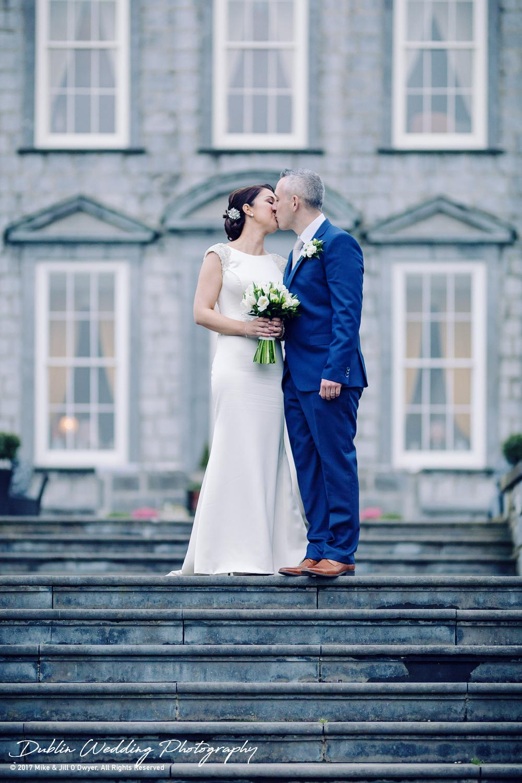 Castle Durrow Wedding Photographer Bride & Groom on Steps