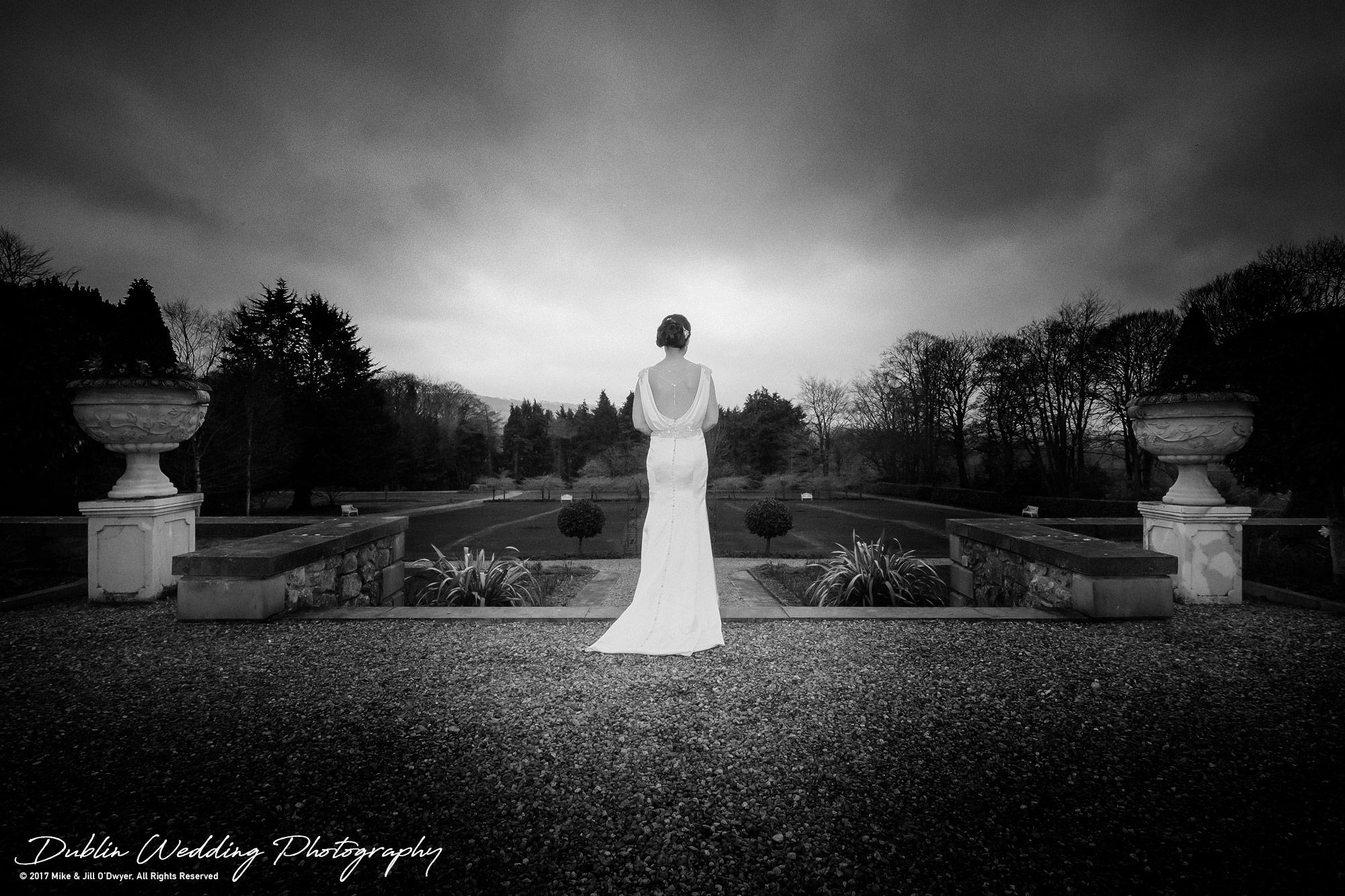 Castle Durrow Wedding Photographer County Laois back of Wedding Dress