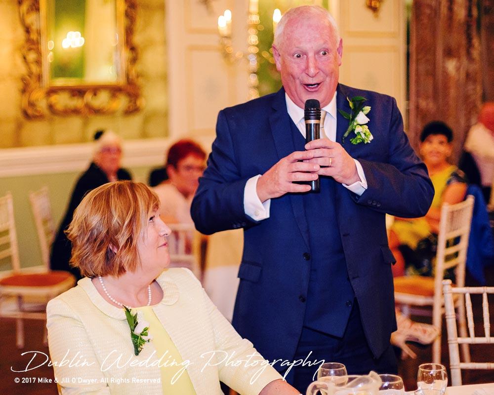 Castle Durrow Wedding Photographer County Laois Speeches Father Groom