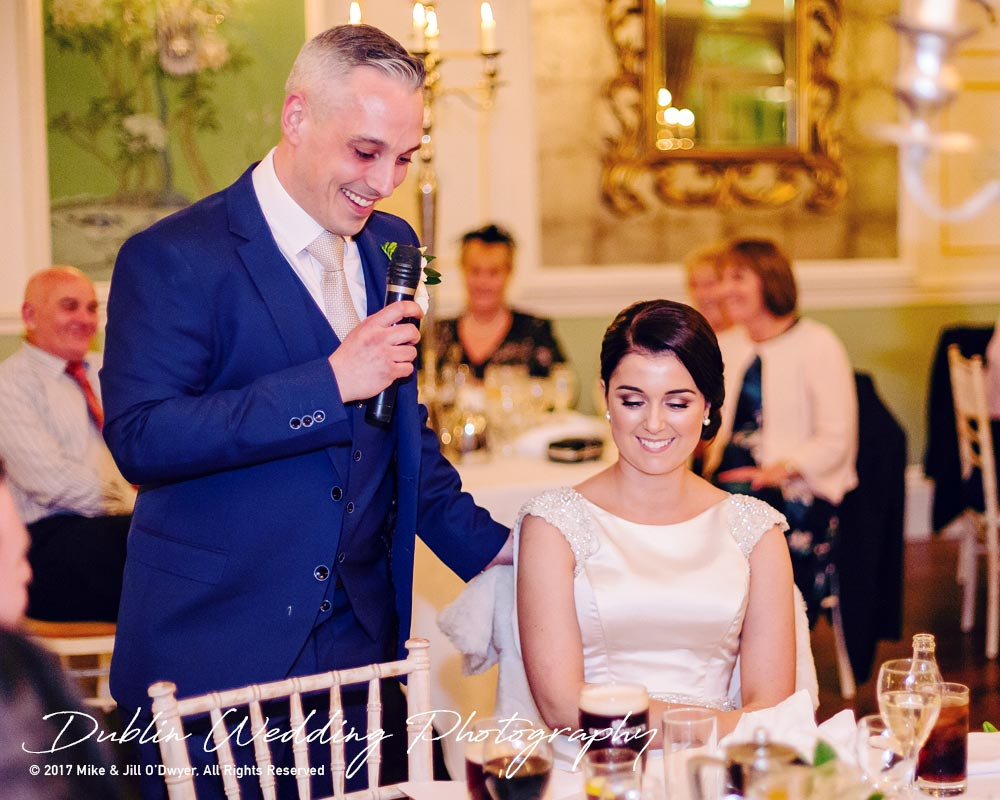 Castle Durrow Wedding Photographer County Laois Speeches Groom