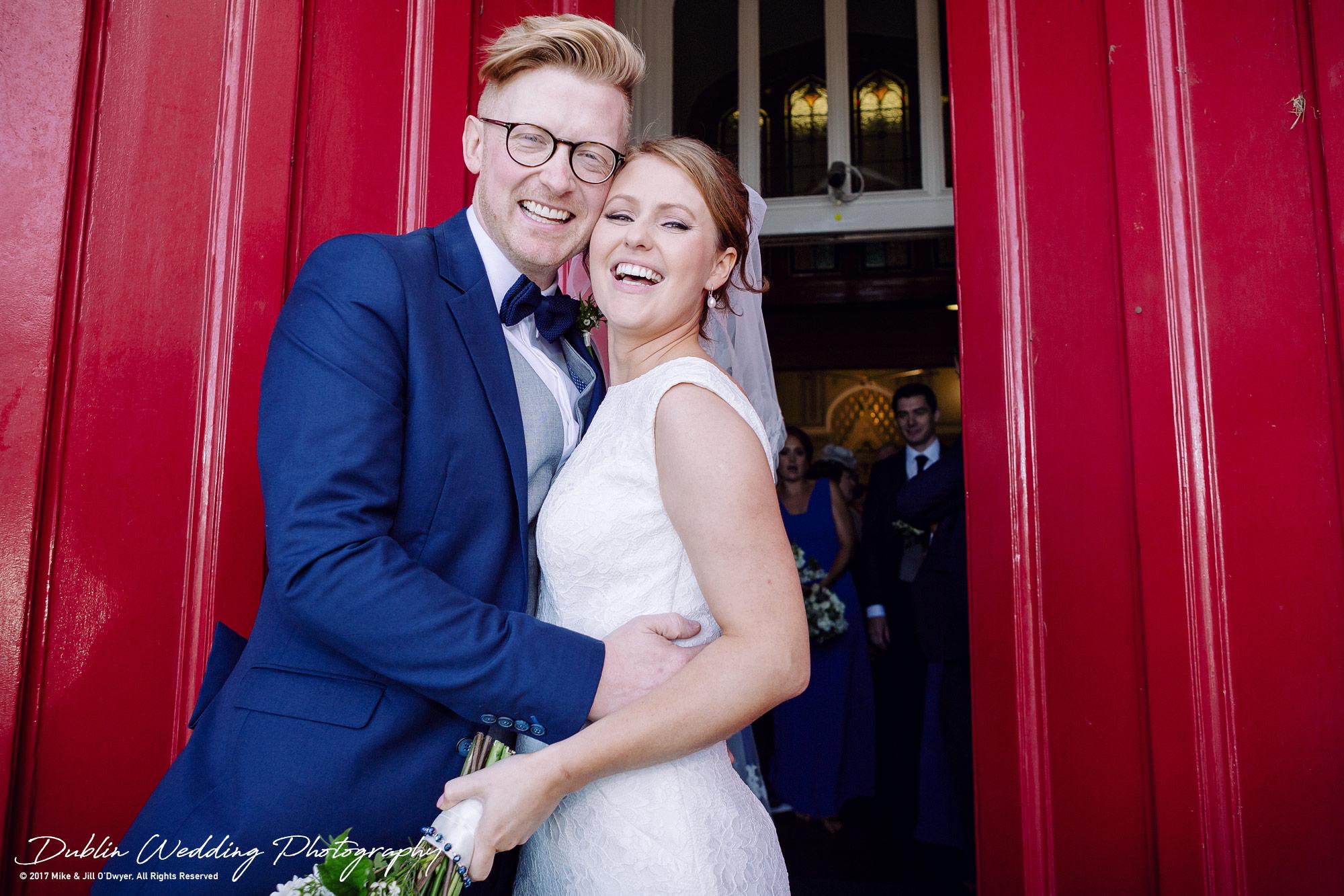 Tinakilly House Wedding Photographer: Bride & Groom at Church Entrance
