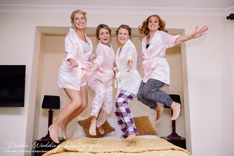 Tinakilly House Wedding Photographer: Bride & Bridesmaids Jumping