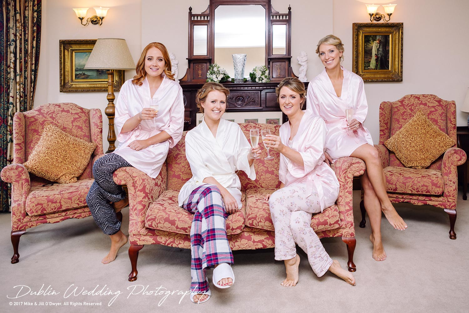 Tinakilly House Wedding Photographer: Bride & Bridesmaids and Morning Champagne