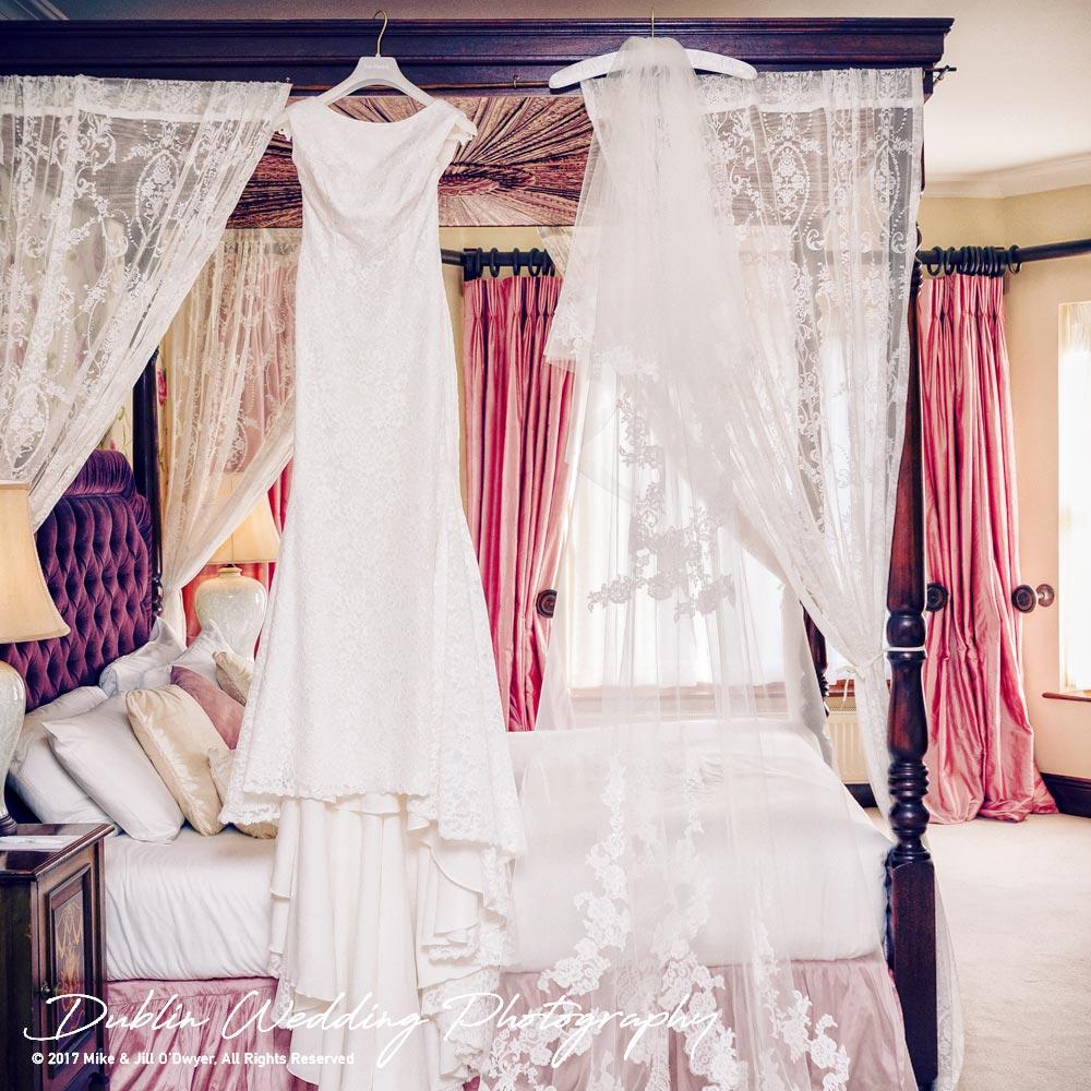 Tinakilly House Wedding Photographer: Wedding Dress Preparation