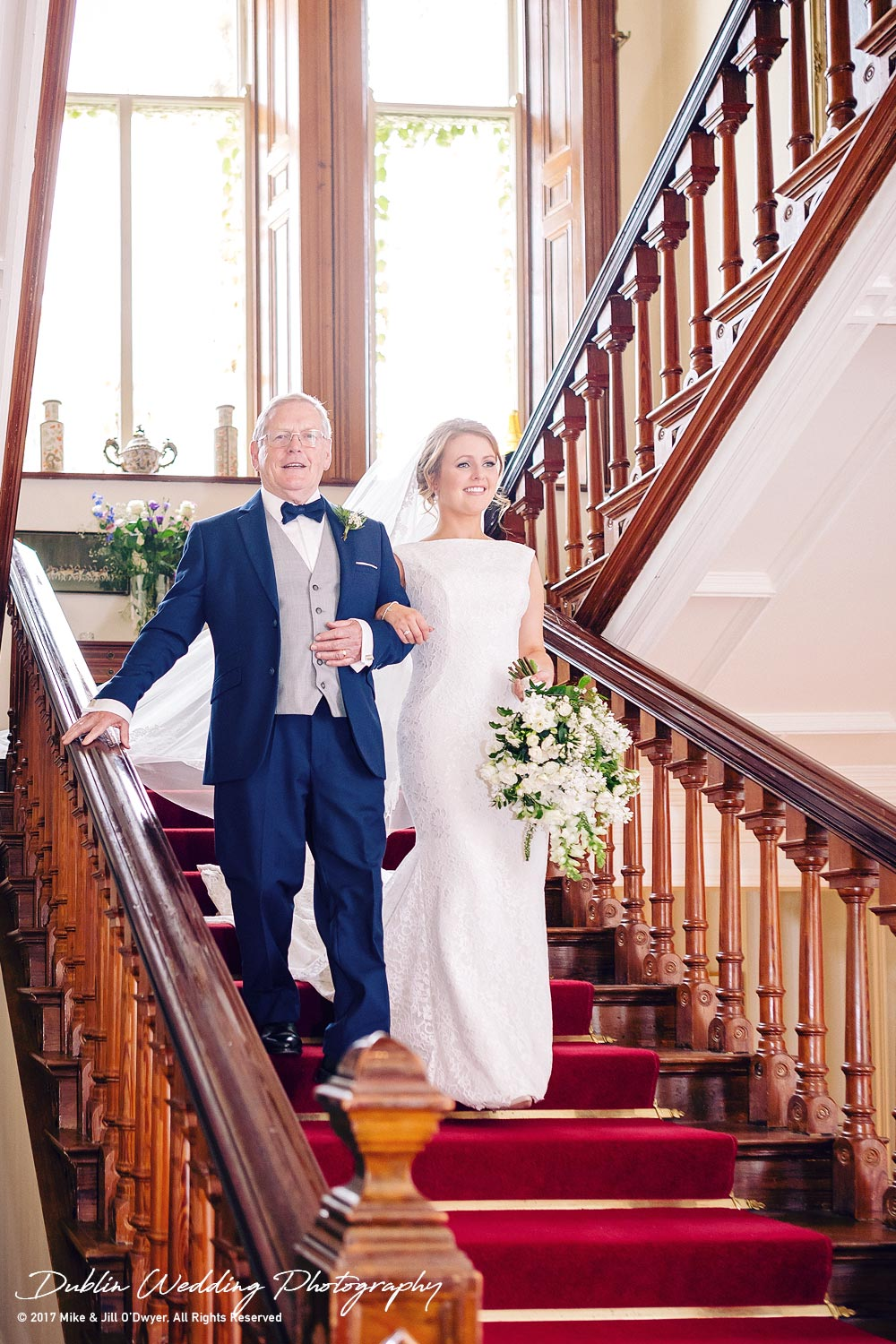 Tinakilly House Wedding Photographer: Bride & Father Coming Down Stairs