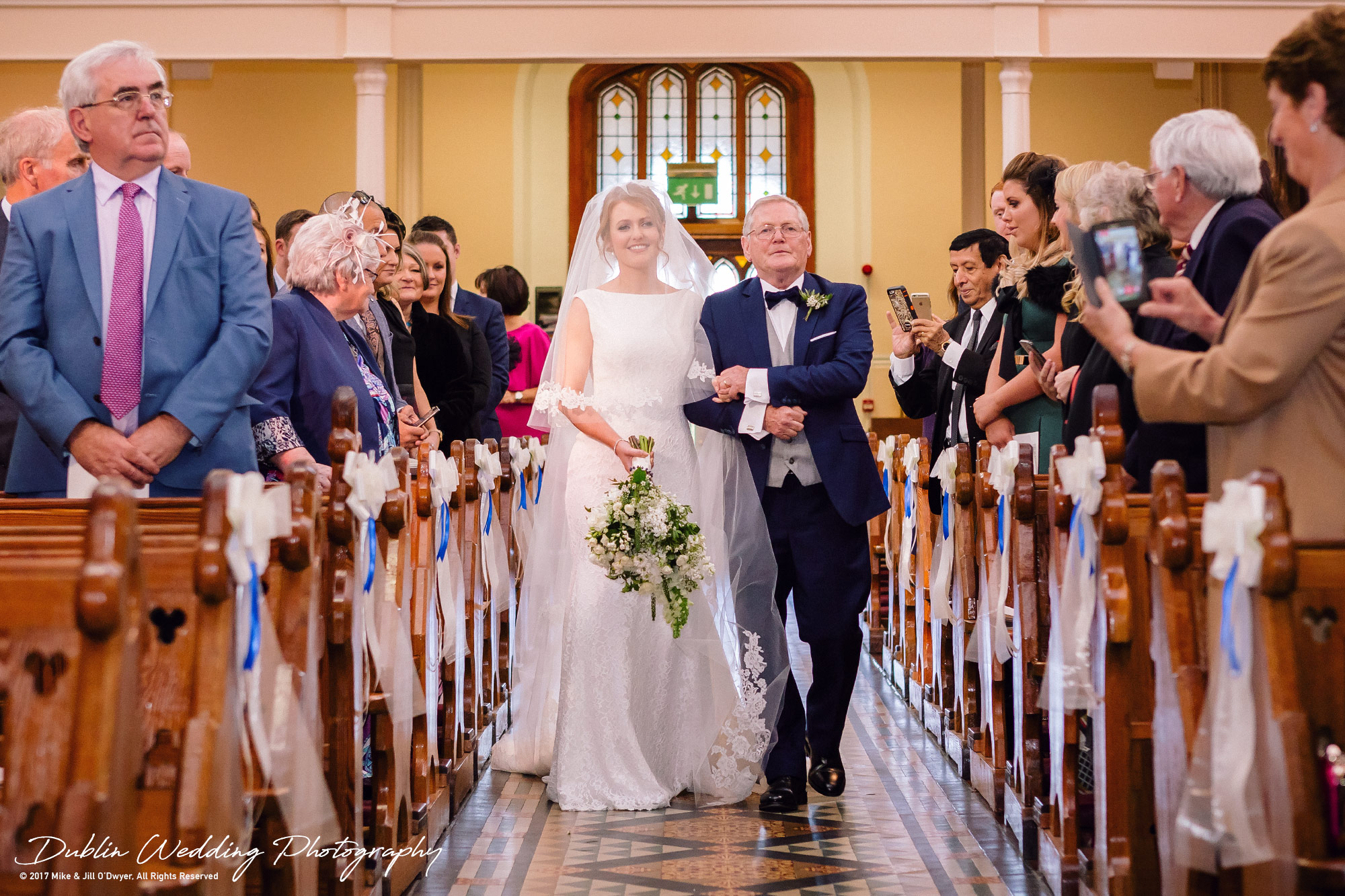 Tinakilly House Wedding Photographer: Bride & Father Walking Up Aisle