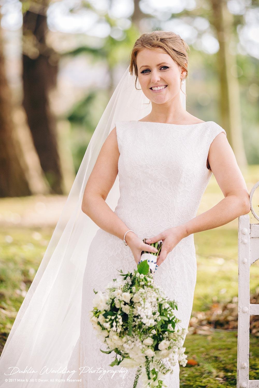 Tinakilly House Wedding Photographer: Bride at Tinakilly Gate