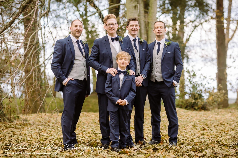 Tinakilly House Wedding Photographer: Groom and Groomsmen in garden