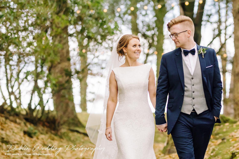 Tinakilly House Wedding Photographer: Bride & Groom and tree Lights