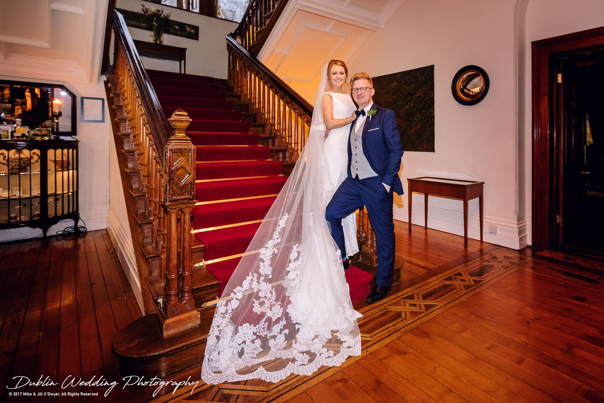 Tinakilly House Wedding Photographer: Bride & Groom at the staircase