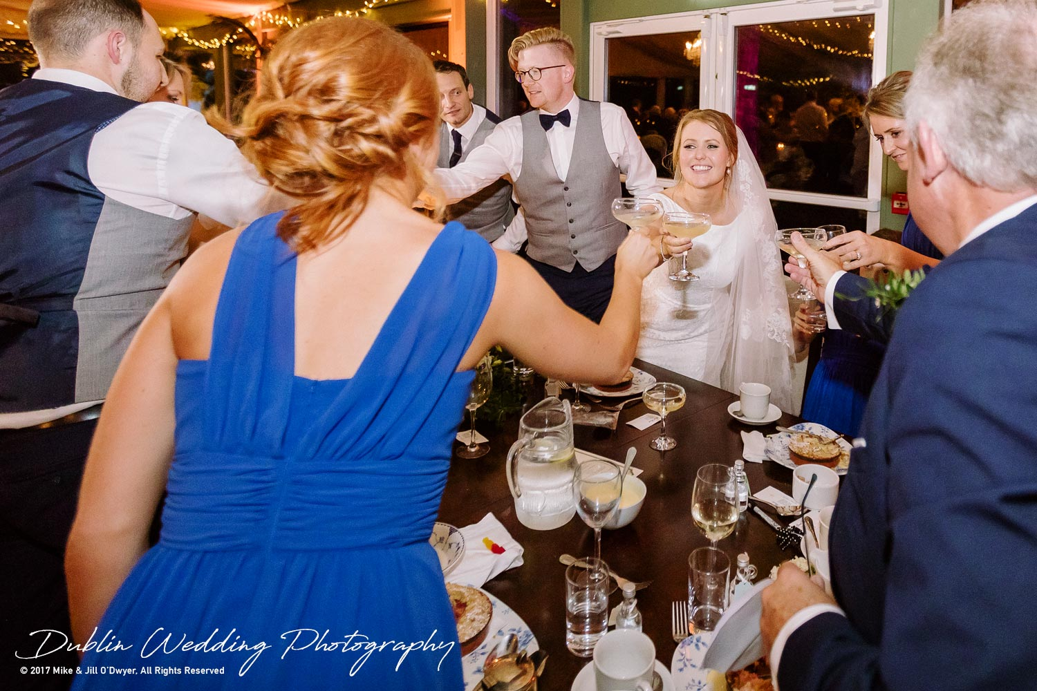 Tinakilly House Wedding Photographer: Cheers after Speeches