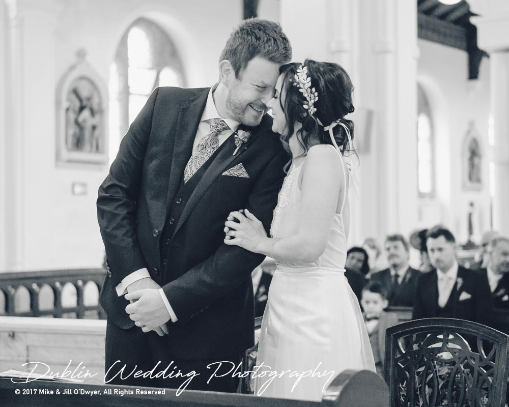 Moyvalley, Balyna House, Wedding Photographer, Kildare, Dublin, Groom Bride standing in Church