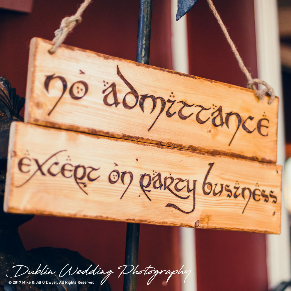 Bellingham Castle, Wedding Photographer, Louth, Dublin, Detail of LOTR admittance Sign