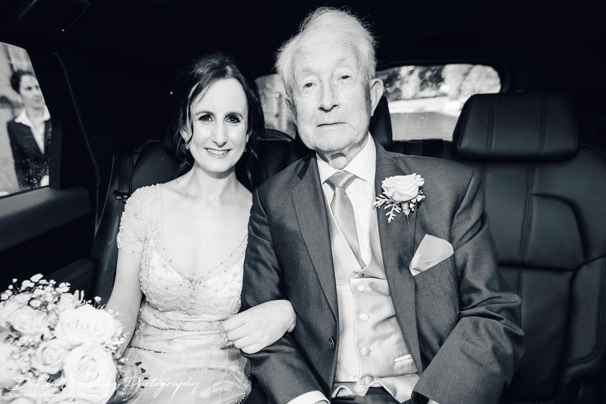 Bellingham Castle, Wedding Photographer, Louth, Dublin, Bride & Father in Car