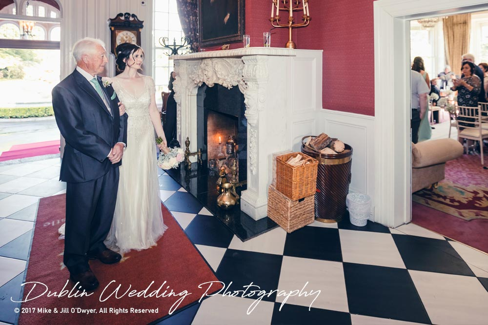 Bellingham Castle, Wedding Photographer, Louth, Dublin, Bride & Father about to make their entrance