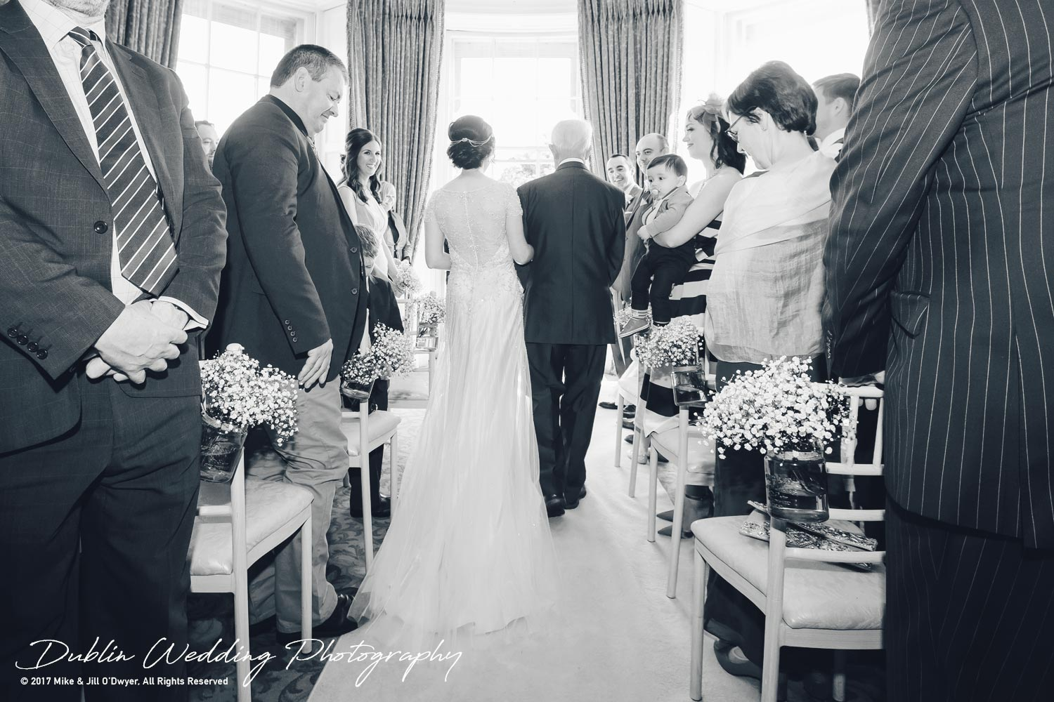 Bellingham Castle, Wedding Photographer, Louth, Dublin, Bride & Father walking up aisle from back