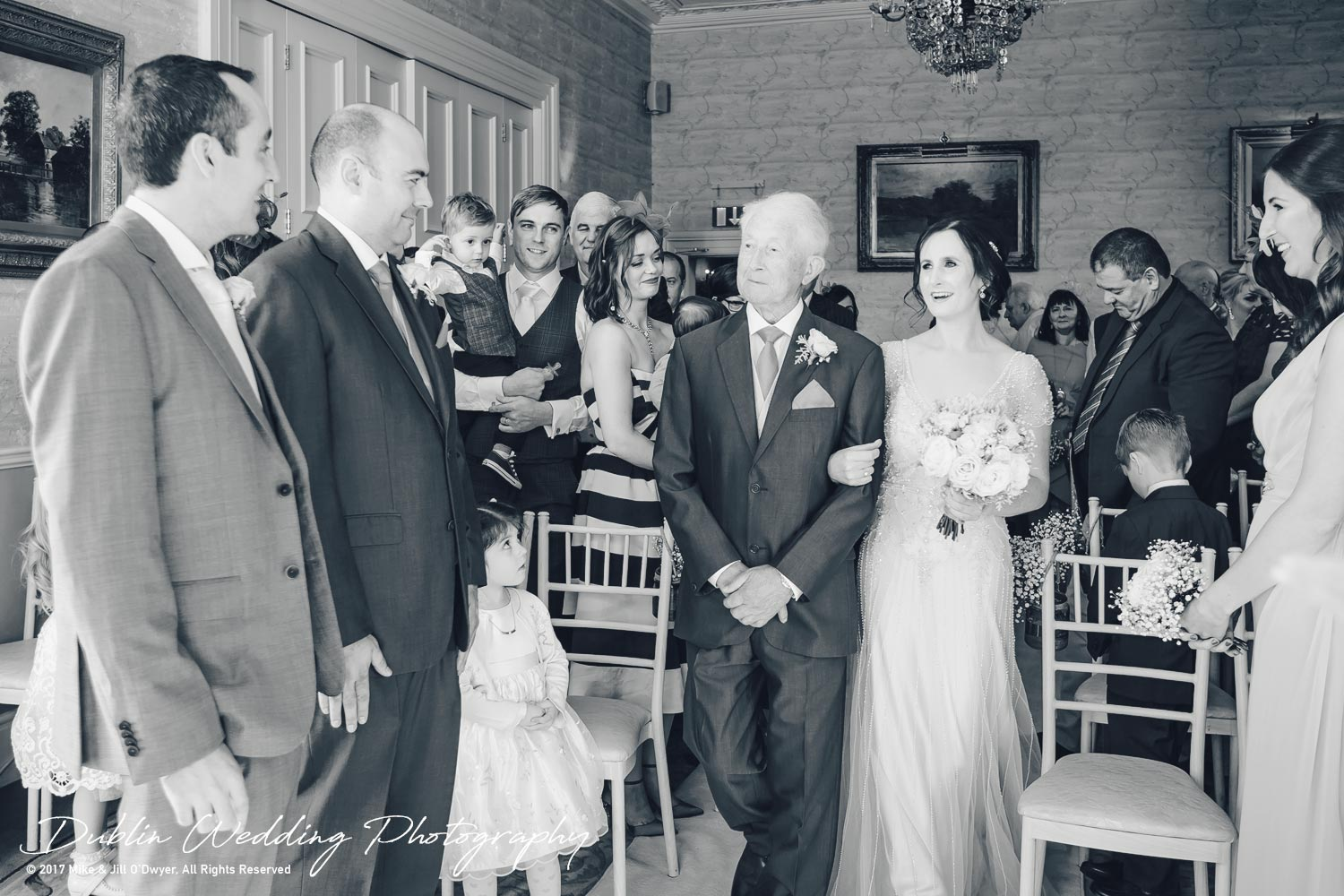 Bellingham Castle, Wedding Photographer, Louth, Dublin, Bride & Father walking up aisle