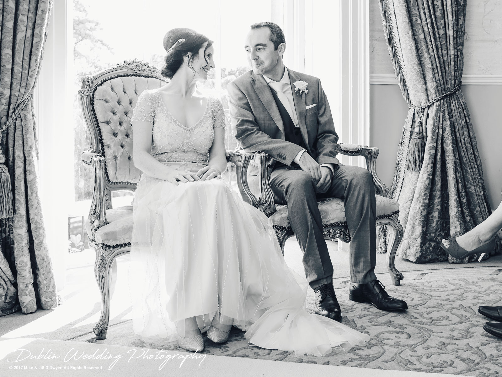 Bellingham Castle, Wedding Photographer, Louth, Dublin, Bride & Groom Sitting During Ceremony
