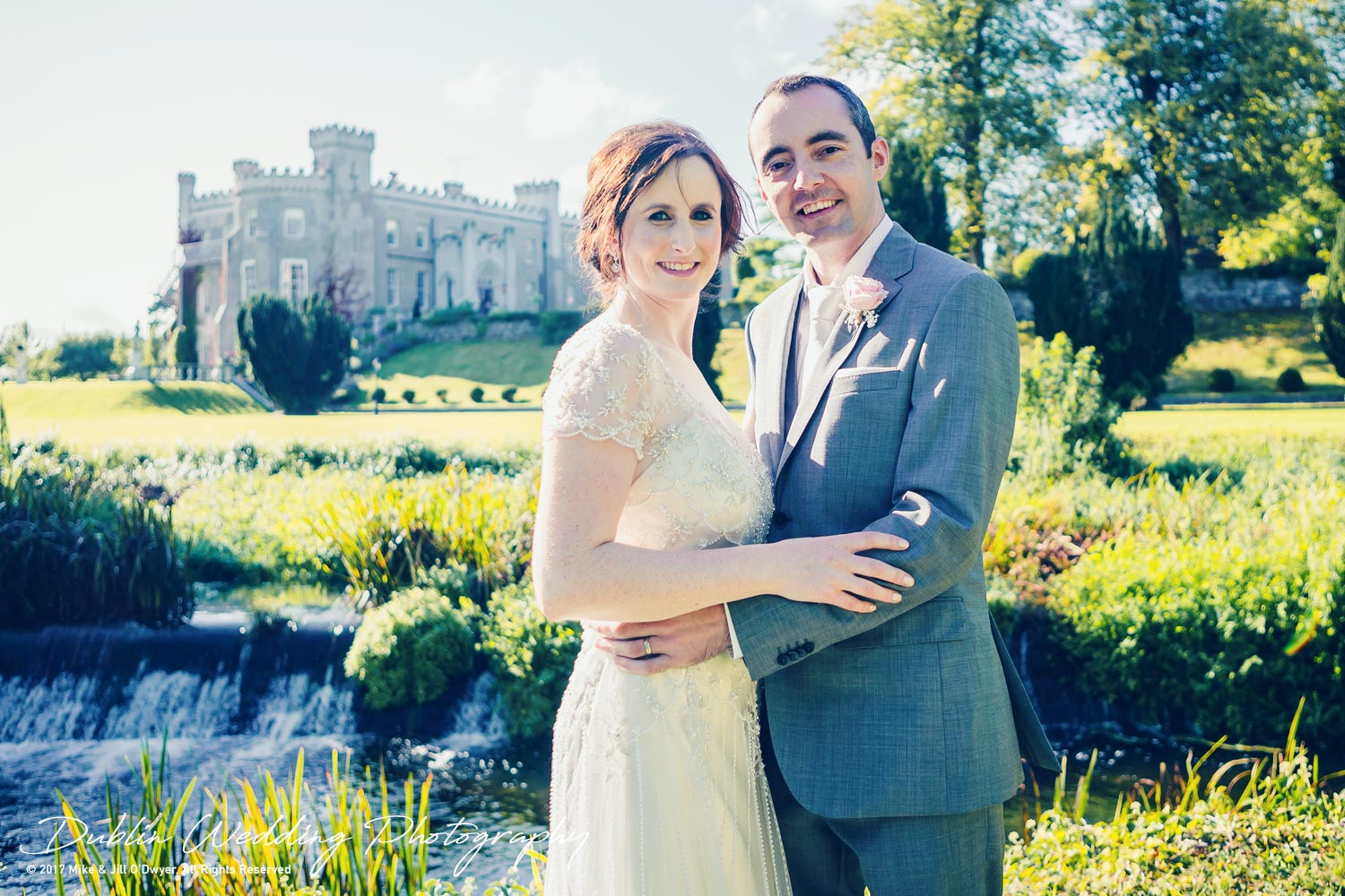 Bellingham Castle, Wedding Photographer, Louth, Dublin, Bride & Groom Outside bellingham castle