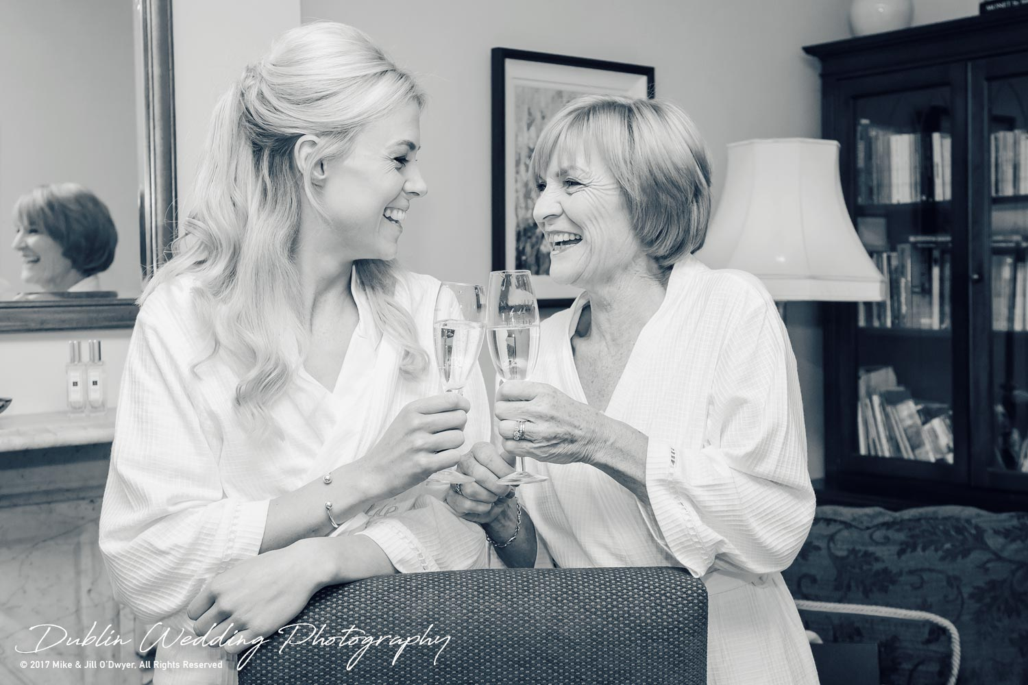 K Club, Kildare, Wedding Photographer, Dublin, Bride with mother having champagne in the morning