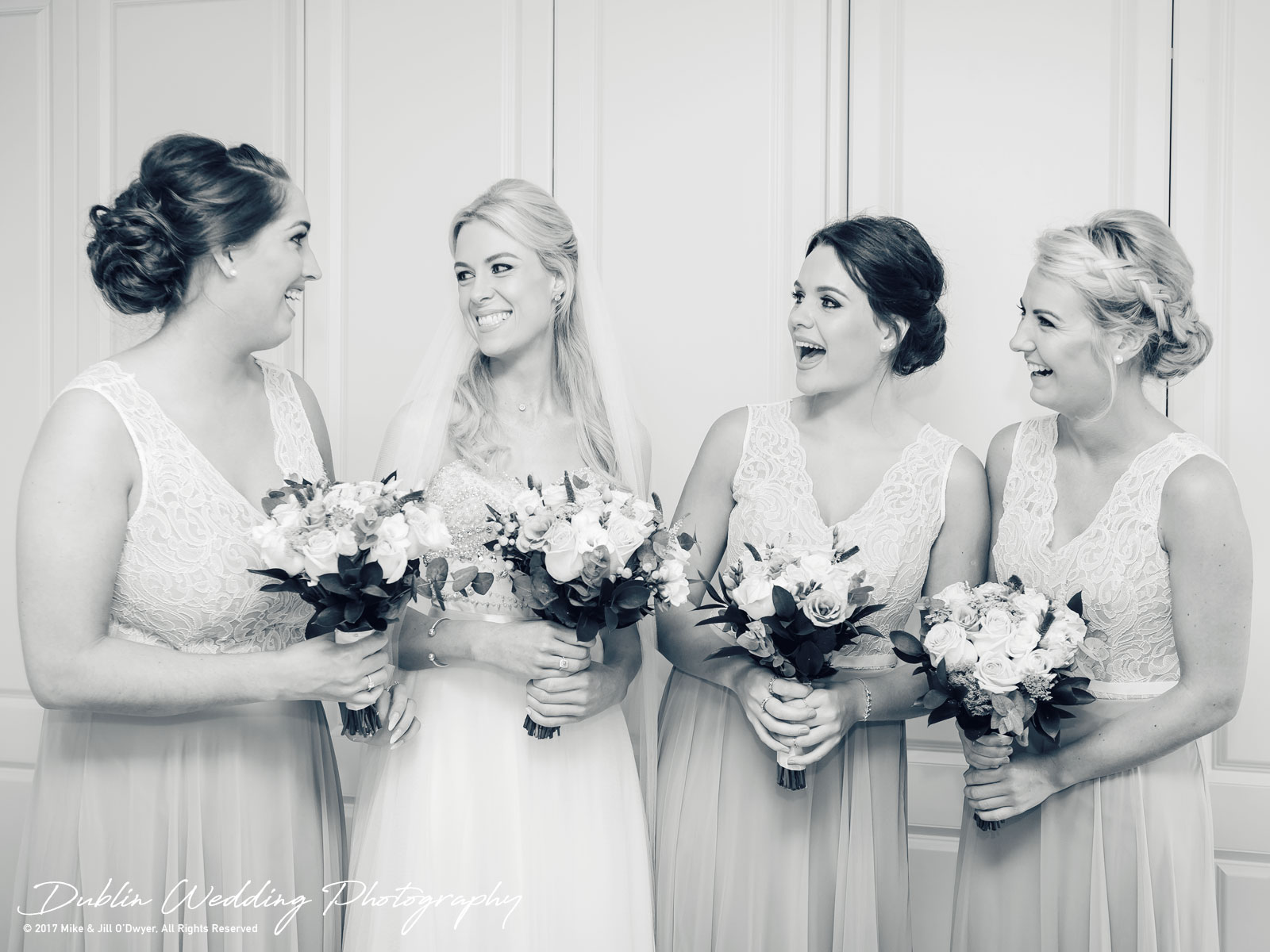 K Club, Kildare, Wedding Photographer, Dublin, Bride and Bridesmaids with bouquets