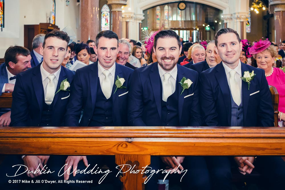 K Club, Kildare, Wedding Photographer, Dublin, K Club, Kildare, Wedding Photographer, Dublin, Groom and Groomsmen sitting in the church waiting for the Bride
