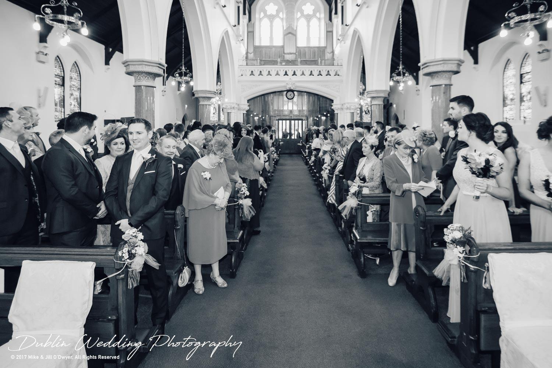 K Club, Kildare, Wedding Photographer, Dublin, Groom waiting in Church as Bride gets ready to make her entrance