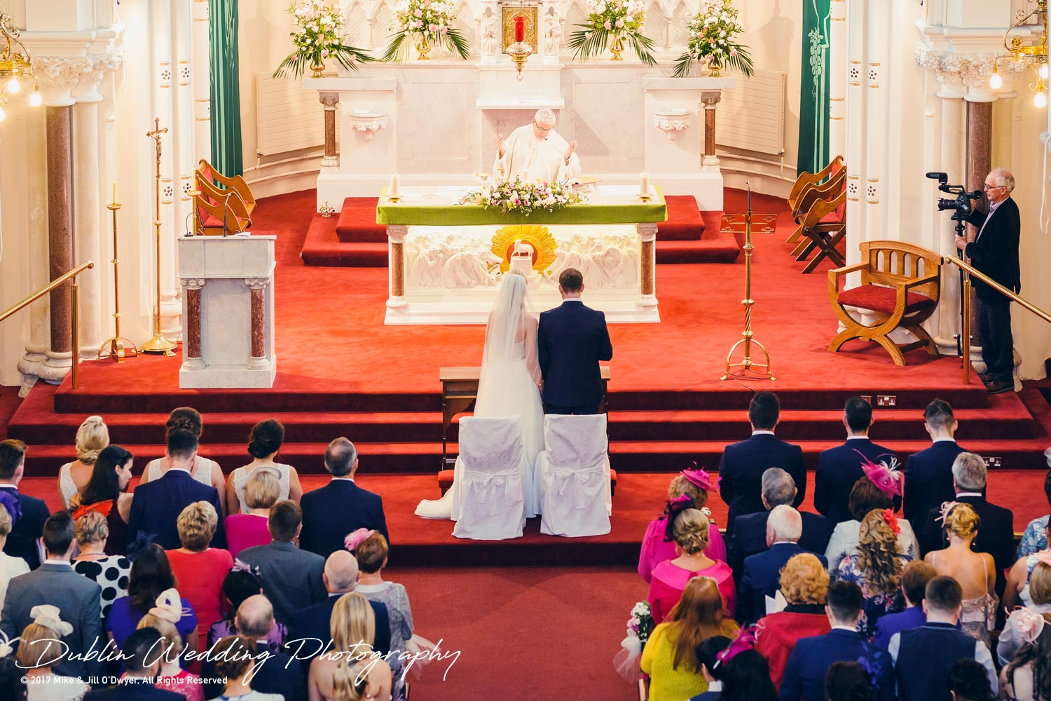 K Club, Kildare, Wedding Photographer, Dublin, view from the back of the church at the Bride and Groom standing together