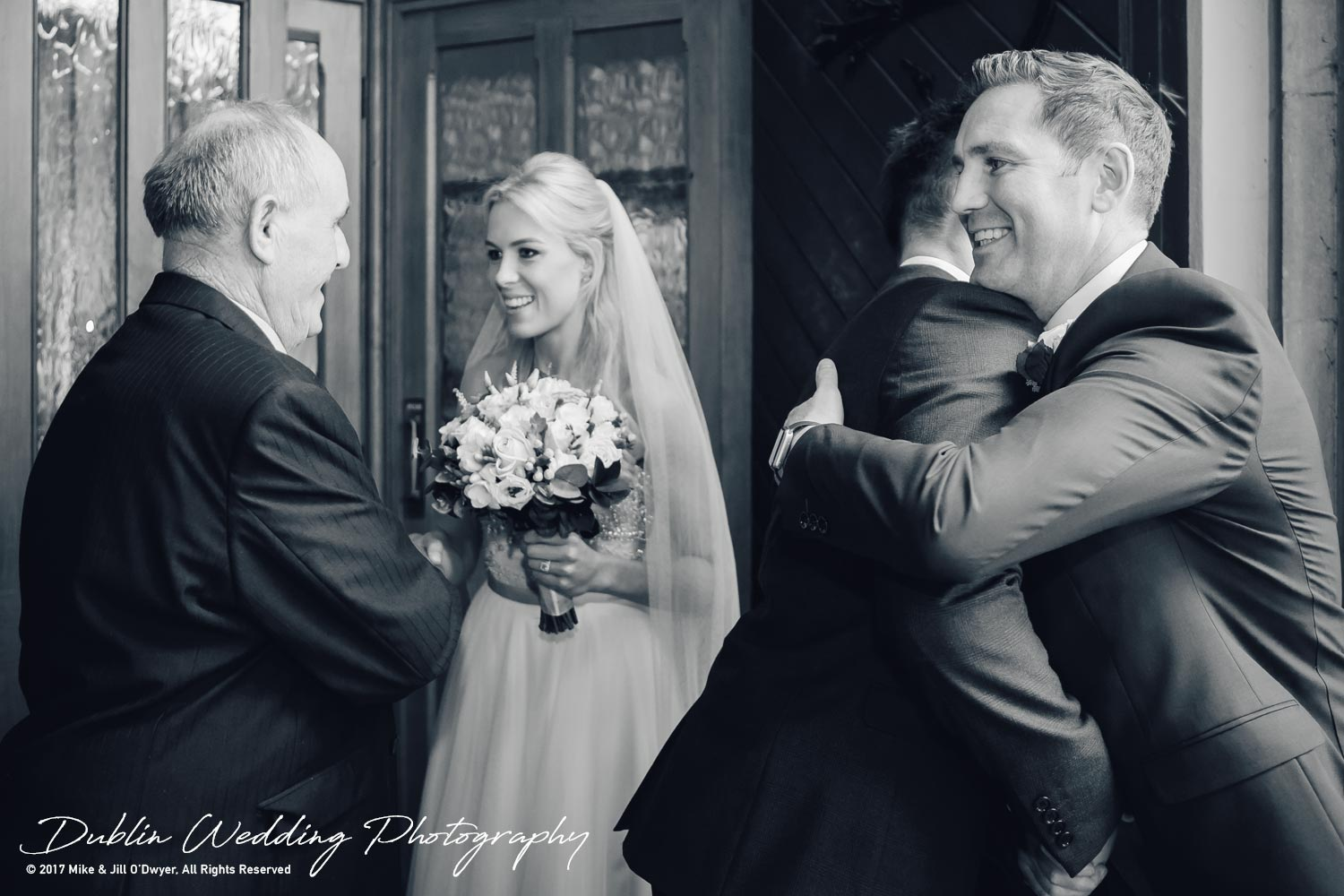 K Club, Kildare, Wedding Photographer, Dublin, Bride and Groom greeting guests outside church