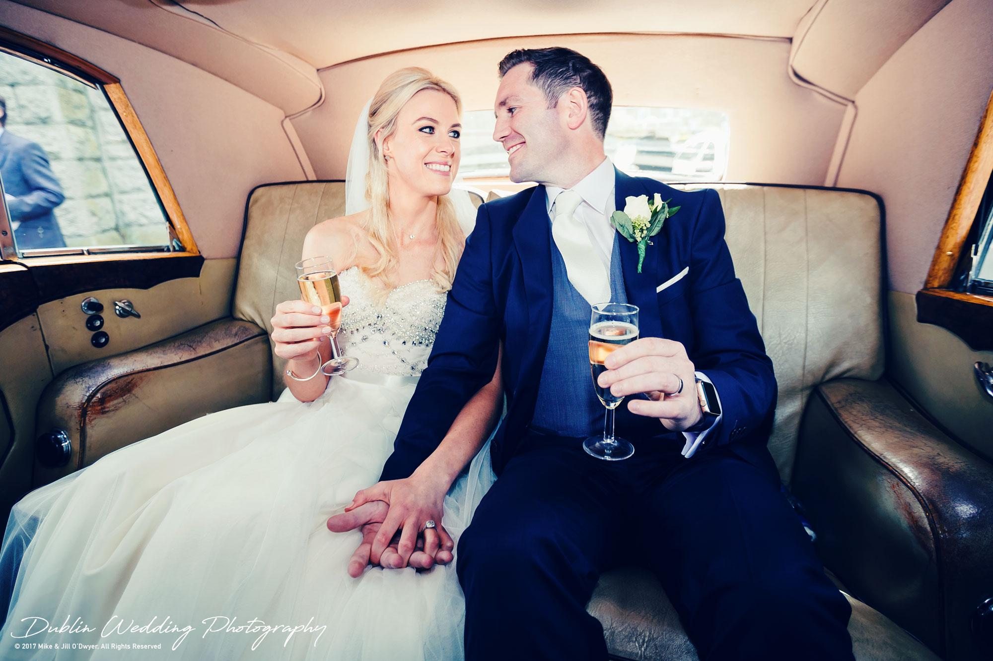 K Club, Kildare, Wedding Photographer, Dublin, Bride and Groom alone at last in the car outside church