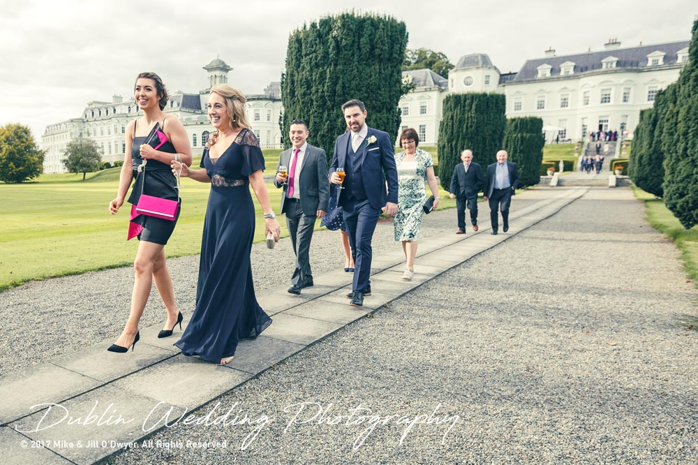K Club, Kildare, Wedding Photographer, Dublin, Guests walking from the hotel to the reception rooms