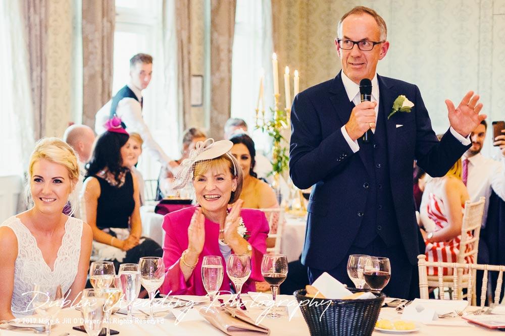 K Club, Kildare, Wedding Photographer, Dublin, Bride's father giving a speech